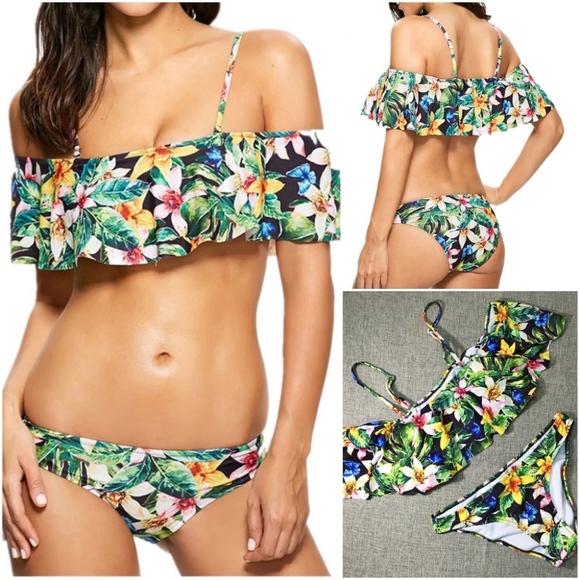 3b830a4d58a6d Floral Ruffle off shoulder two piece swim